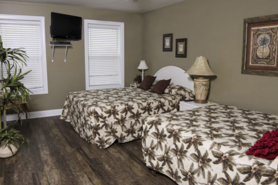 Second floor roadside bedroom is perfect for a movie night!