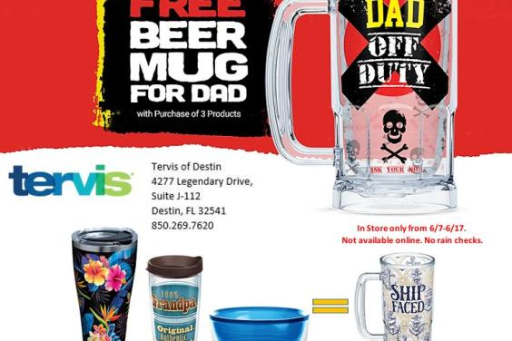 TERVIS: Buy 4 Tumblers or bowls and get a Beer Mug Free!!!