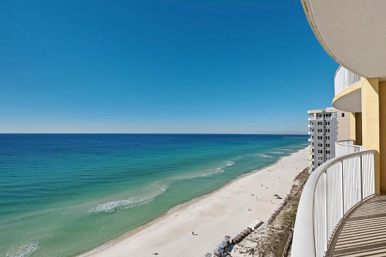 View of the Beach from Balcony Unit 1602