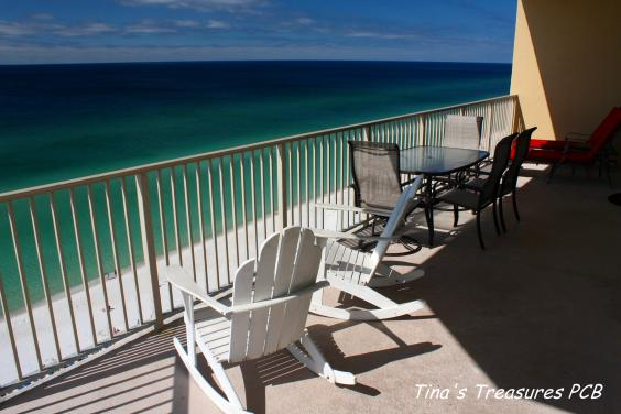 View looking east at Gulf of Mexico from our xlarge 719 sq wrap around balcony