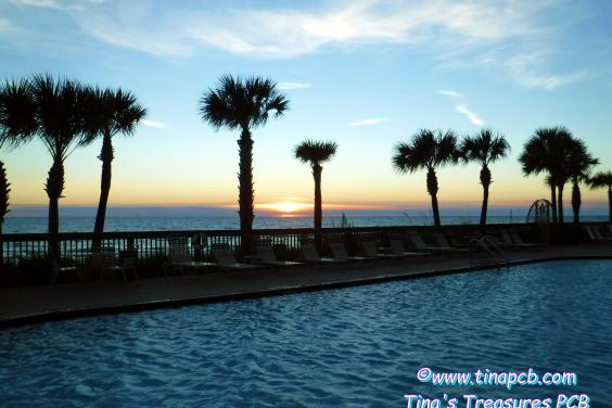View from the Pool deck at sunset -  2 pools, 2 hot tubs