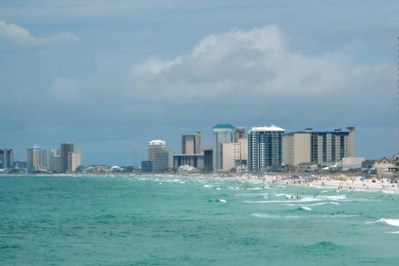 View from the Gulf of Mexico of our Treasure Island 612 condo