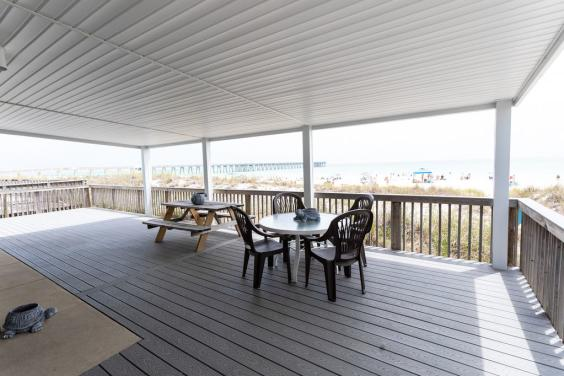 Enjoy the sound of the crashing waves as you enjoy a meal on the deck!