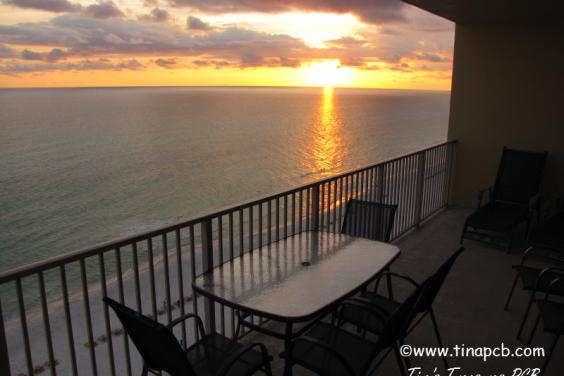 View From Our 719 sq ft wrap around balconcy of the beach and ocean at sunet