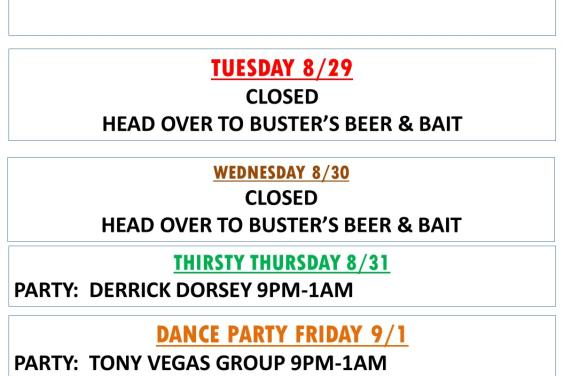Buster's Hangar 67 Weekly Happenings