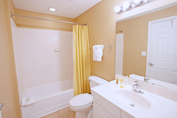 Second bathroom is bright and colorful!