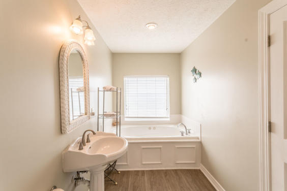 Beautiful Master bathroom with shower and jacuzzi tub! With a Gulf view!