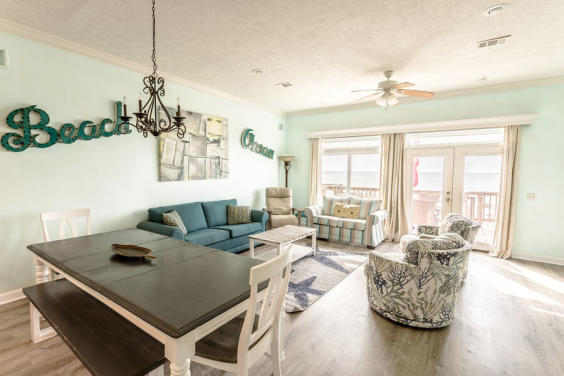 With ample seating for your family, you can all enjoy a meal while still seeing the beach!