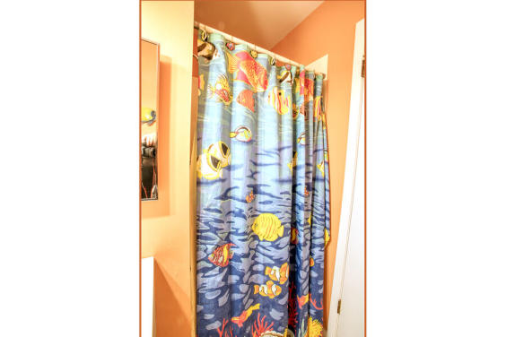 Downstairs bathroom will make you feel like you're on the beach!