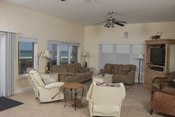 First floor living room is cozy and spacious! With amazing views