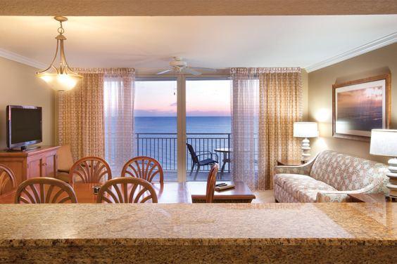 Panama City Beach, FL - Wyndham Vacation Resorts Panama City Beach, Living Area & Balcony