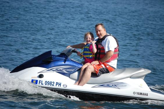 Little girl on Jet Ski
