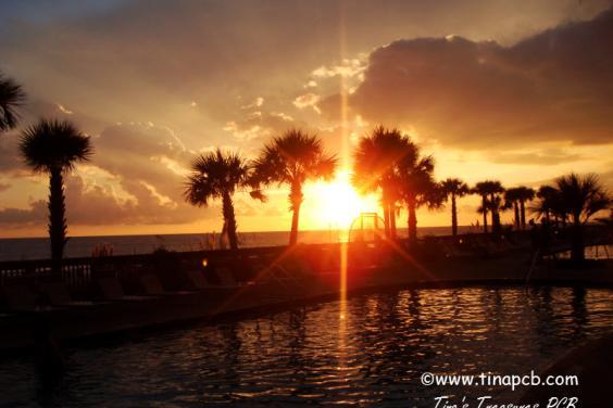 Sunset pool deck