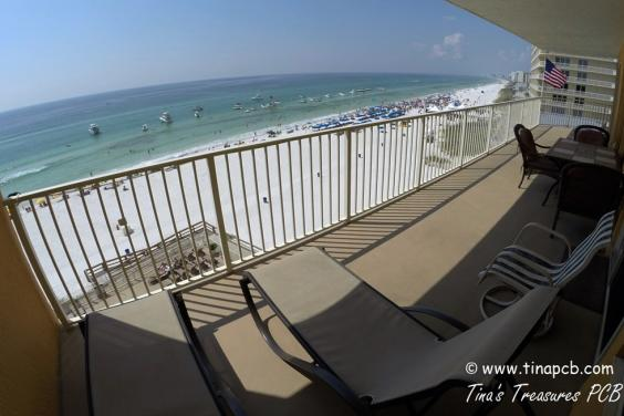 View for our 801 sq ft wraparound balcony of the beach and Gulf of Mexico