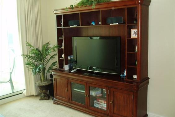 Entertainment Center in Living Room overlooking Beach