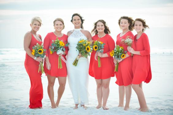 Beautiful bride with her bridal party