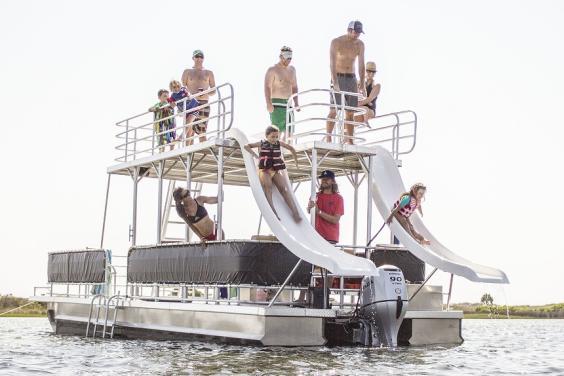 Slide Pontoon Boat