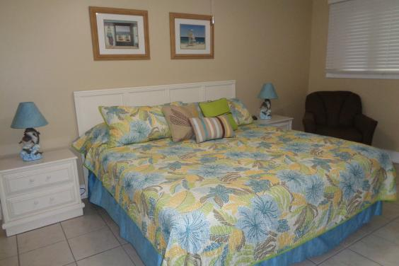 Master bedroom with king size bed, flat screen tv, bath