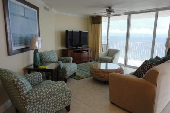 Living Room with 55-in HDTV and Gulf view