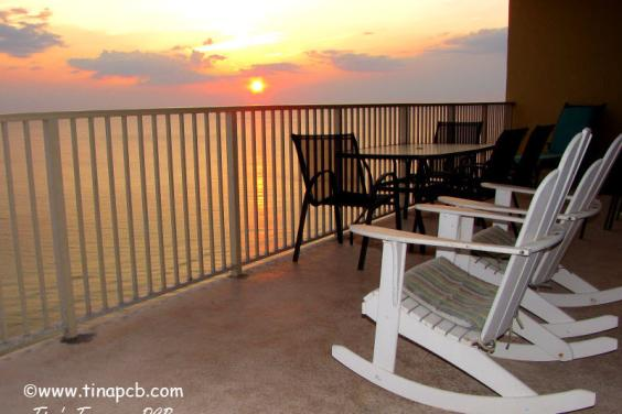 View From Our 719 sq ft wrap around balconcy of the beach and ocean at sunset