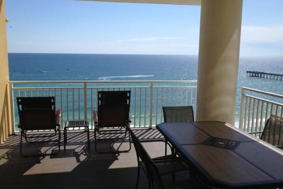 Large corner balcony with westerly views & gorgeous views of the gulf