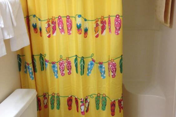 LOVE MY FLIP FLOP SHOWER CURTAIN IN FLIP FLOPS ON THE MOON! FUN!