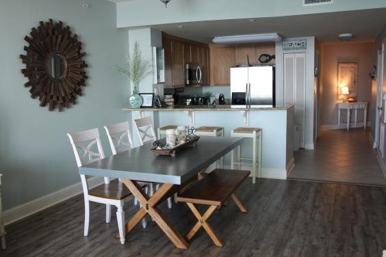 Zinc-top dining table and Kitchen