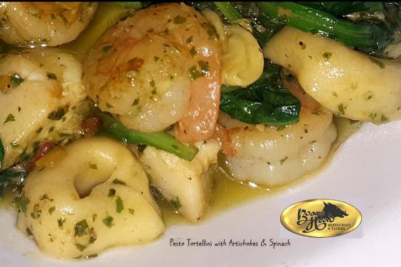 PCB Pesto Shrimp & Artichokes with Tortellllini Pasta- Boar's Head Restaurant