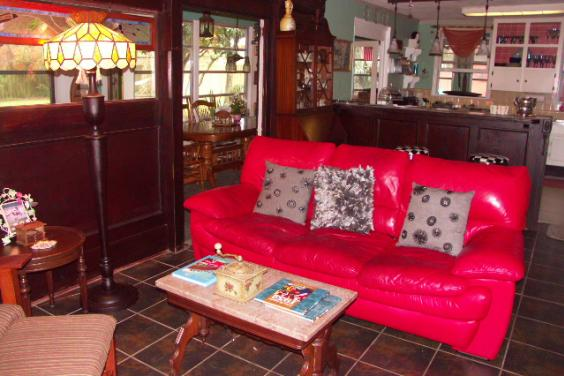 The Parlor With Lipstick Red Leather Sofa For Fireplace or TV