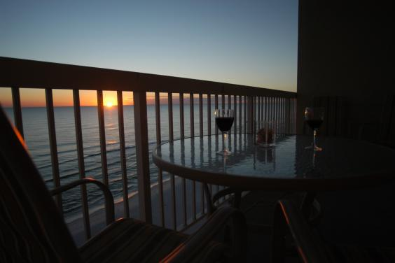 Enjoy beautiful sunsets from the balcony.