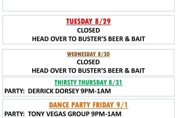 Buster's Hangar 67 Weekly Happenings