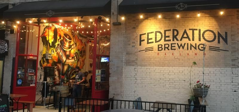 exterior view of Federation Brewing at night