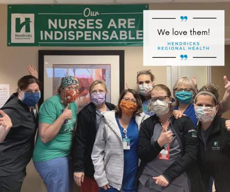 An example of how our community has rallied during the pandemic is this picture of Hendricks Regional Health workers wearing Sew and Serve Indy masks