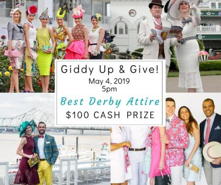 event poster for giddy up and give derby party in fort thomas ky