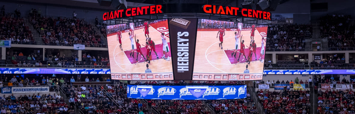 PIAA Basketball at Giant Center in Hershey Scoreboard Shot
