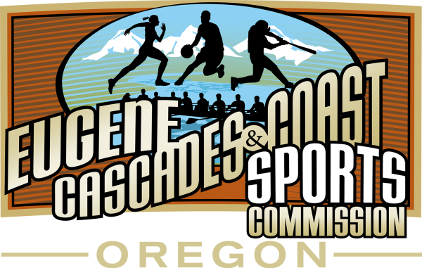 Eugene, Cascades & Coast Sports Commission Logo with Oregon