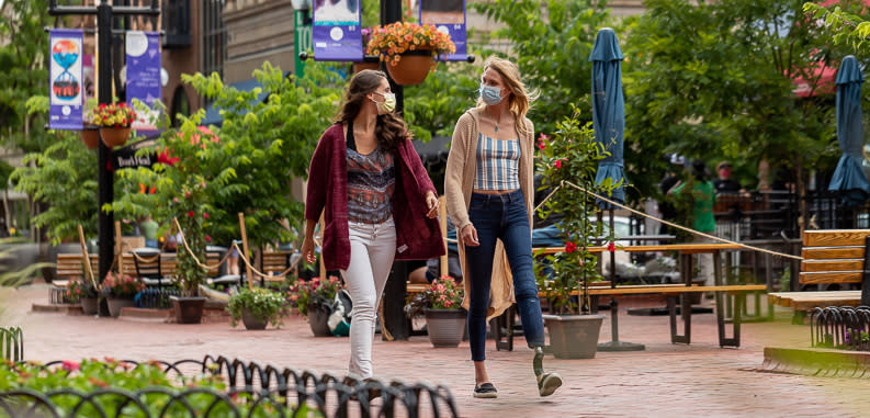 Pearl Street Flowers with Women in Masks