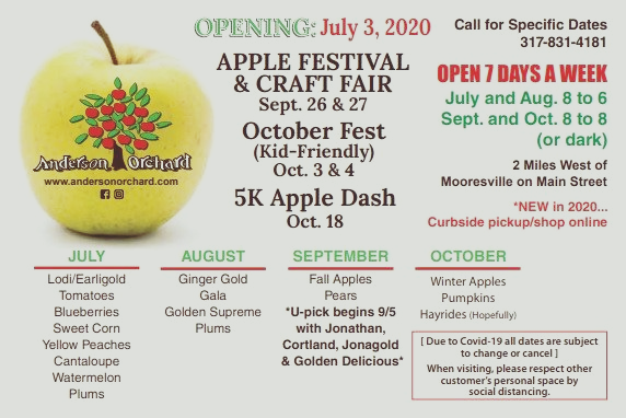 Anderson Orchard festival dates, hours and estimated product availability for 2020.
