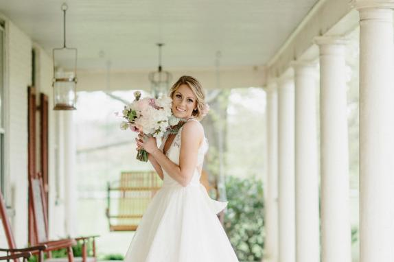 Bride on Manor House Front Porch