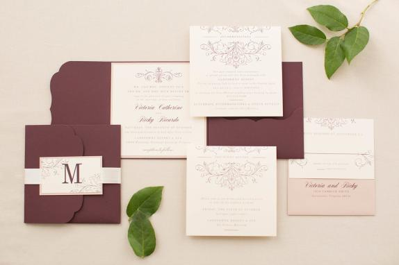 Pocketfold wedding invitation in wine and beige