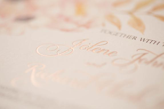 rose gold foil stamped wedding invitation