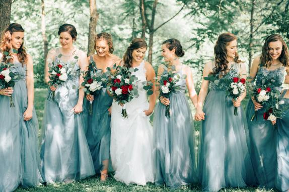 Bridal Party Portrait in Orchards