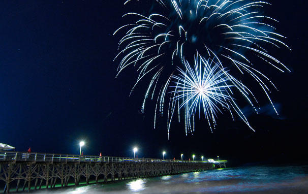 Hot Summer Nights Fireworks Over Pier