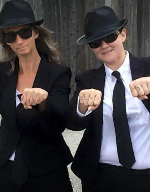 Getting in costume for Blues Brothers!