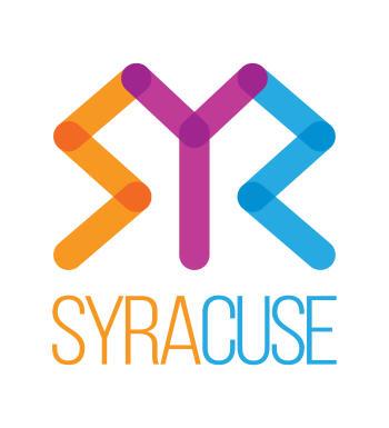 Visit Syracuse Logo in Orange, Purple and Blue