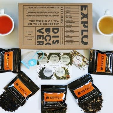 Whistling Kettle tea packs with box