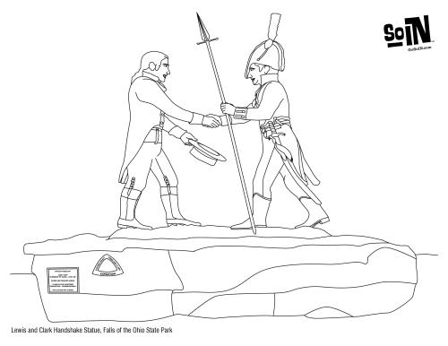 Lewis and Clark Handshake Coloring Page