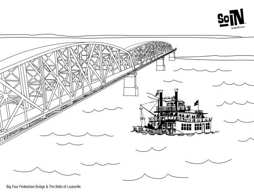 Coloring Page - Bridge Four Station Bridge and the Belle of Louisville