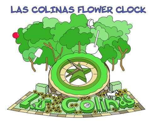 An illustration featuring aspects of Las Colinas that can be printed out and colored in.