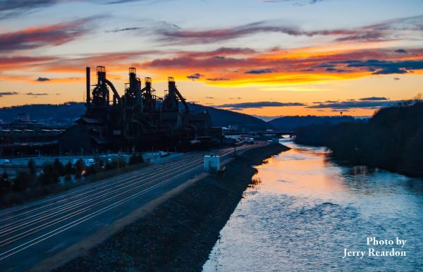 Sunset over the Lehigh River and SteelStacks, Lehigh Valley,PA